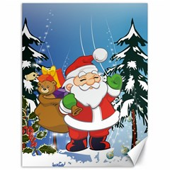 Funny Santa Claus In The Forrest Canvas 18  x 24   by FantasyWorld7