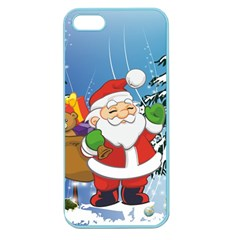 Funny Santa Claus In The Forrest Apple Seamless iPhone 5 Case (Color) by FantasyWorld7