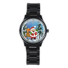 Funny Santa Claus In The Forrest Stainless Steel Round Watches by FantasyWorld7