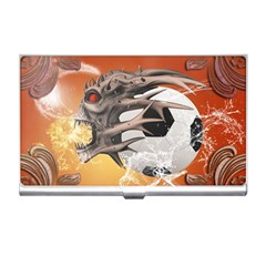 Soccer With Skull And Fire And Water Splash Business Card Holders by FantasyWorld7