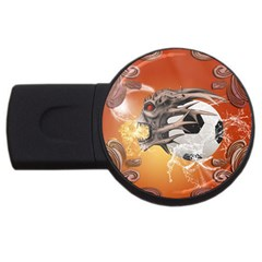 Soccer With Skull And Fire And Water Splash Usb Flash Drive Round (2 Gb)  by FantasyWorld7