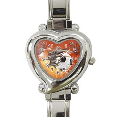 Soccer With Skull And Fire And Water Splash Heart Italian Charm Watch by FantasyWorld7