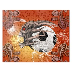 Soccer With Skull And Fire And Water Splash Rectangular Jigsaw Puzzl