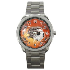 Soccer With Skull And Fire And Water Splash Sport Metal Watches by FantasyWorld7
