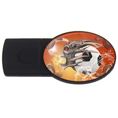 Soccer With Skull And Fire And Water Splash Usb Flash Drive Oval (4 Gb)  by FantasyWorld7