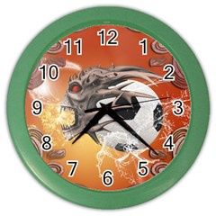Soccer With Skull And Fire And Water Splash Color Wall Clocks by FantasyWorld7