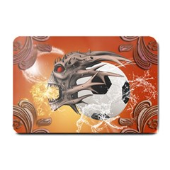 Soccer With Skull And Fire And Water Splash Small Doormat  by FantasyWorld7