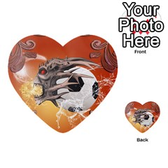 Soccer With Skull And Fire And Water Splash Multi Purpose Cards (heart)  by FantasyWorld7