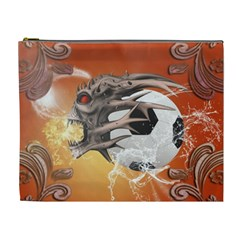 Soccer With Skull And Fire And Water Splash Cosmetic Bag (xl) by FantasyWorld7
