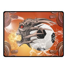 Soccer With Skull And Fire And Water Splash Fleece Blanket (small) by FantasyWorld7