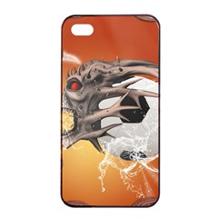 Soccer With Skull And Fire And Water Splash Apple Iphone 4/4s Seamless Case (black) by FantasyWorld7
