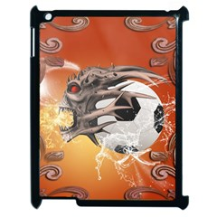 Soccer With Skull And Fire And Water Splash Apple Ipad 2 Case (black) by FantasyWorld7