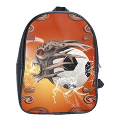 Soccer With Skull And Fire And Water Splash School Bags (xl)  by FantasyWorld7