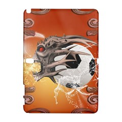 Soccer With Skull And Fire And Water Splash Samsung Galaxy Note 10 1 (p600) Hardshell Case by FantasyWorld7