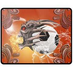 Soccer With Skull And Fire And Water Splash Double Sided Fleece Blanket (medium)  by FantasyWorld7