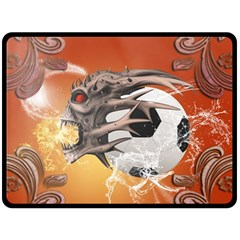 Soccer With Skull And Fire And Water Splash Double Sided Fleece Blanket (Large)  by FantasyWorld7