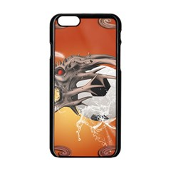Soccer With Skull And Fire And Water Splash Apple Iphone 6/6s Black Enamel Case by FantasyWorld7