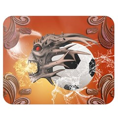 Soccer With Skull And Fire And Water Splash Double Sided Flano Blanket (medium)  by FantasyWorld7