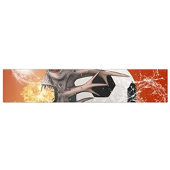 Soccer With Skull And Fire And Water Splash Flano Scarf (small)  by FantasyWorld7