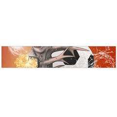 Soccer With Skull And Fire And Water Splash Flano Scarf (large)  by FantasyWorld7