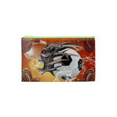 Soccer With Skull And Fire And Water Splash Cosmetic Bag (xs) by FantasyWorld7