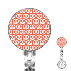 Coral Pretzel Illustrations Pattern Stainless Steel Nurses Watches by creativemom