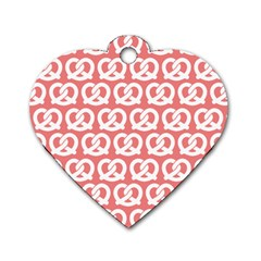 Chic Pretzel Illustrations Pattern Dog Tag Heart (Two Sides) by creativemom
