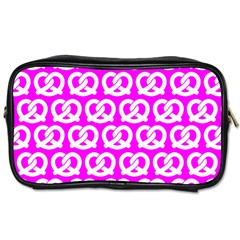 Pink Pretzel Illustrations Pattern Toiletries Bags by creativemom