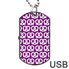 Purple Pretzel Illustrations Pattern Dog Tag Usb Flash (two Sides)  by creativemom