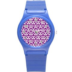 Purple Pretzel Illustrations Pattern Round Plastic Sport Watch (s) by creativemom