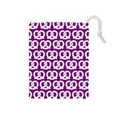 Purple Pretzel Illustrations Pattern Drawstring Pouches (medium)  by creativemom