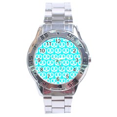 Aqua Pretzel Illustrations Pattern Stainless Steel Men s Watch by creativemom