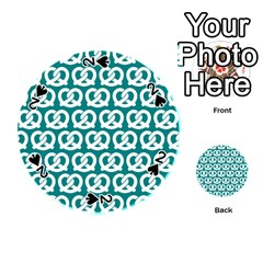 Teal Pretzel Illustrations Pattern Playing Cards 54 (round)  by creativemom