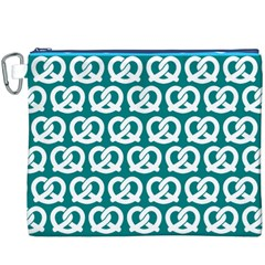Teal Pretzel Illustrations Pattern Canvas Cosmetic Bag (XXXL)  by creativemom