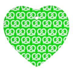 Neon Green Pretzel Illustrations Pattern Ornament (heart)  by creativemom
