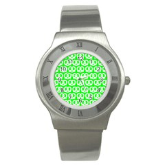 Neon Green Pretzel Illustrations Pattern Stainless Steel Watches by creativemom