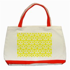 Yellow Pretzel Illustrations Pattern Classic Tote Bag (red)  by creativemom
