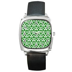 Green Pretzel Illustrations Pattern Square Metal Watches by creativemom