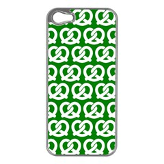 Green Pretzel Illustrations Pattern Apple Iphone 5 Case (silver) by creativemom