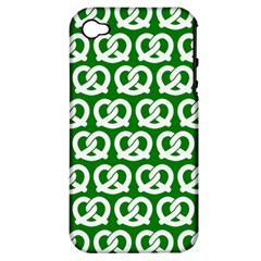 Green Pretzel Illustrations Pattern Apple Iphone 4/4s Hardshell Case (pc+silicone) by creativemom