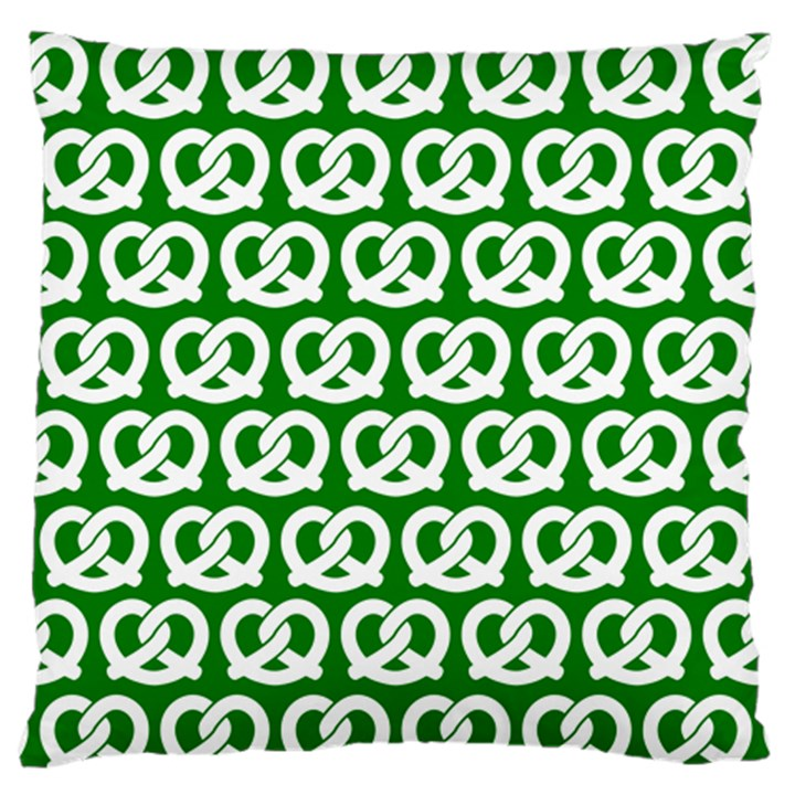 Green Pretzel Illustrations Pattern Large Flano Cushion Cases (Two Sides)