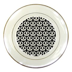 Black And White Pretzel Illustrations Pattern Porcelain Plates by creativemom
