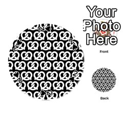 Black And White Pretzel Illustrations Pattern Playing Cards 54 (round)