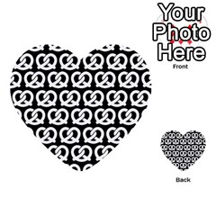 Black And White Pretzel Illustrations Pattern Multi Purpose Cards (heart)