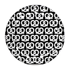 Black And White Pretzel Illustrations Pattern Round Filigree Ornament (2Side) by creativemom