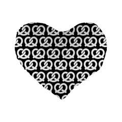Black And White Pretzel Illustrations Pattern Standard 16  Premium Flano Heart Shape Cushions by creativemom
