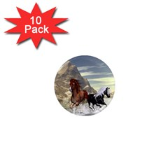 Beautiful Horses Running In A River 1  Mini Magnet (10 Pack)  by FantasyWorld7
