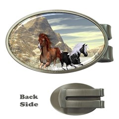 Beautiful Horses Running In A River Money Clips (oval)  by FantasyWorld7