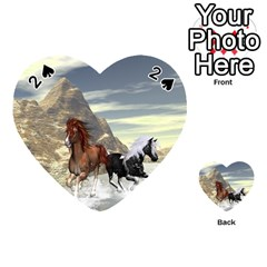 Beautiful Horses Running In A River Playing Cards 54 (heart)  by FantasyWorld7