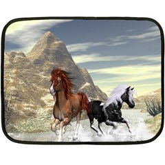 Beautiful Horses Running In A River Double Sided Fleece Blanket (mini)  by FantasyWorld7